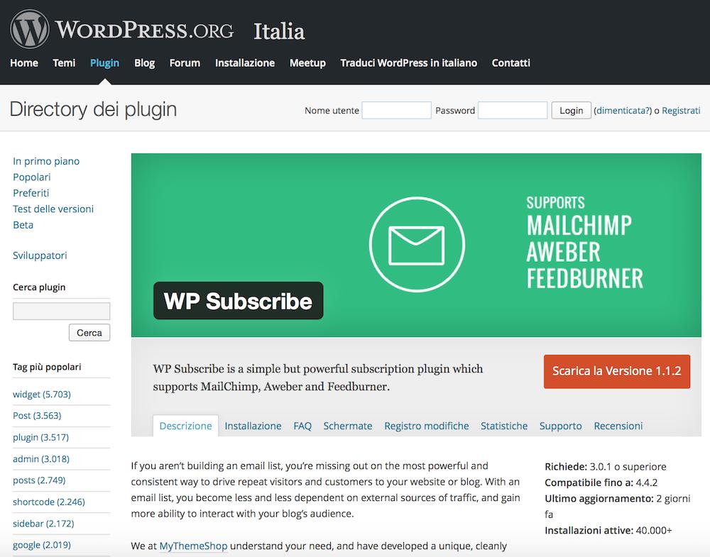 Widget-WordPress-per-la-Sidebar-Wp-Subscribe